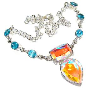 Rainbow Madagascar Fire Quartz Sterling Silver Necklace 14 inches long