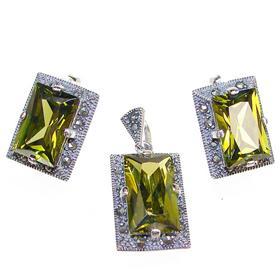 Incredible Olive Quartz Sterling Silver Set