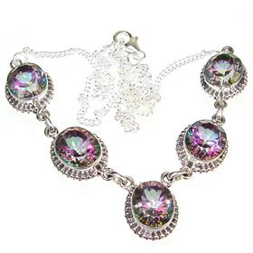 Wonderful Mystic Topaz Sterling Silver Necklace 18 inches long