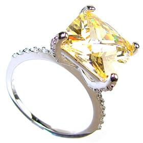 Large Citrine Sterling Silver Ring size Q