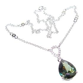 Olive Quartz Sterling Silver Necklace 15 inches long