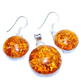 Finest Quality Amber Sterling Silver Set