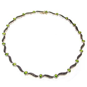 Elegant Peridot Sterling Silver Necklace 15 inches long