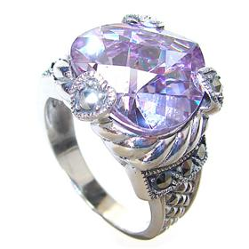 Large Terrific Amethyst Quartz Sterling Silver Ring size P 1/2