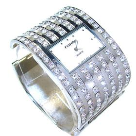 Boxed Figaro Large Diamante Bangle Watch