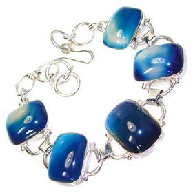 Blue Botswana Agate Sterling Silver Bracelet