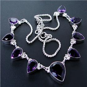Marvelous Royal Amethyst Sterling Silver Necklace 19 inches long
