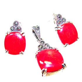Magnificent Red Coral Sterling Silver Set
