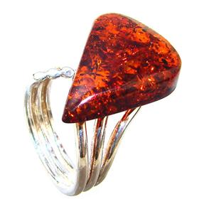 Honey Amber Sterling Silver Gemstone Ring size O