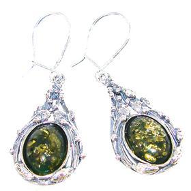 Large Elegant Honey Amber Sterling Silver Earrings