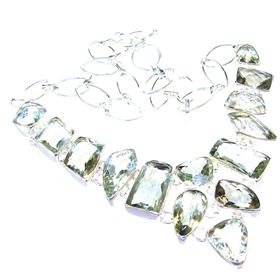 Green Amethyst Sterling Silver Necklace 16 inches