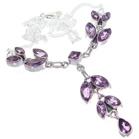 Marvelous Royal Amethyst Sterling Silver Necklace 17 inches long