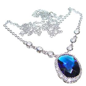 Sapphire Quartz Sterling Silver Necklace 17 inches long