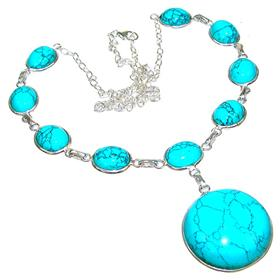 Amazing Turquoise Sterling Silver Necklace 19 inches long