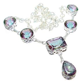 Mystic Topaz Sterling Silver Necklace 18 inches long