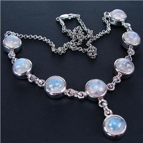 Elegant Moonstone Sterling Silver Necklace 17 inches long
