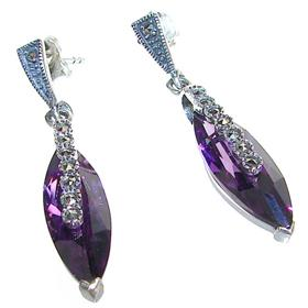 Large Royal Amethyst Sterling Silver Earrings