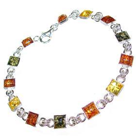 Honey Amber Sterling Silver Bracelet