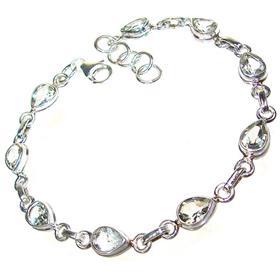 Elegant Green Amethyst Sterling Silver Bracelet