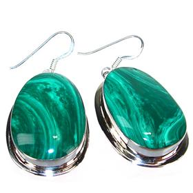 Large Incredible Malachite Sterling Silver Earrings