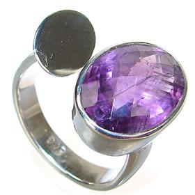 Amethyst Sterling Silver Gemstone Ring size O