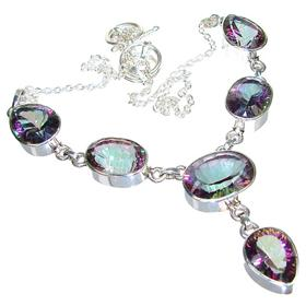 Wonderful Mystic Topaz Sterling Silver Necklace 17 inches long