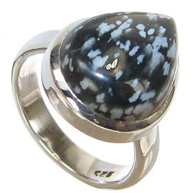 Snowflake Obsidian Sterling Silver Ring size N 1/2