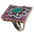 Created Ruby Emerald Turkish Sterling Silver and Brass Ring size N