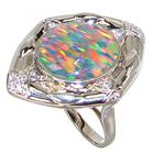 Designer Created Fire Opal Sterling Silver Ring Size R