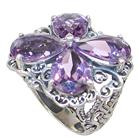 Large Delightful Amethyst Sterling Silver Ring size N 1/2