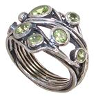 Solid Peridot Sterling Silver Ring size R