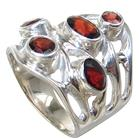 Royal Garnet Sterling Silver Ring Size N 1/2