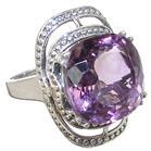 Fancy Amethyst Sterling Silver Ring size N 1/2