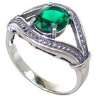 Green Quartz Sterling Silver Ring size R 1/2