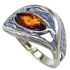 Baltic Amber Sterling Silver Ring size N 1/2