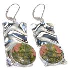 Russian Unakite Sterling Silver Earrings