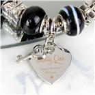 Personalised Swirls & Hearts 21st Birthday Key Charm Bracelet Galaxy