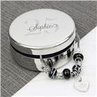 Personalised Big Age Round Trinket Box & Galaxy Heart Charm Bracelet