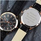 Personalised Mens Rose Gold Plated Watch with Black Strap