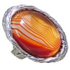 Solid Agate Sterling Silver Ring size R Adjustable