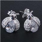 White Quartz Ladybird Sterling Silver Earrings Stud
