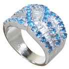 Blue Quartz Sterling Silver Ring size L 1/2