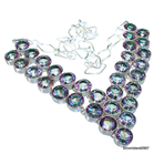 Massive Mystic Topaz Sterling Silver Necklace 17 inches long
