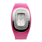 Eton Boxed Oval Diamante Case Coloured Metal Bangle Watch